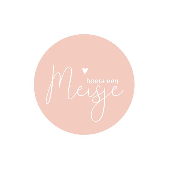 Sticker hoera een meisje roze wit