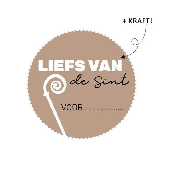Sint sticker kraft Liefs van de Sint voor : 10 stuks (KP2021)