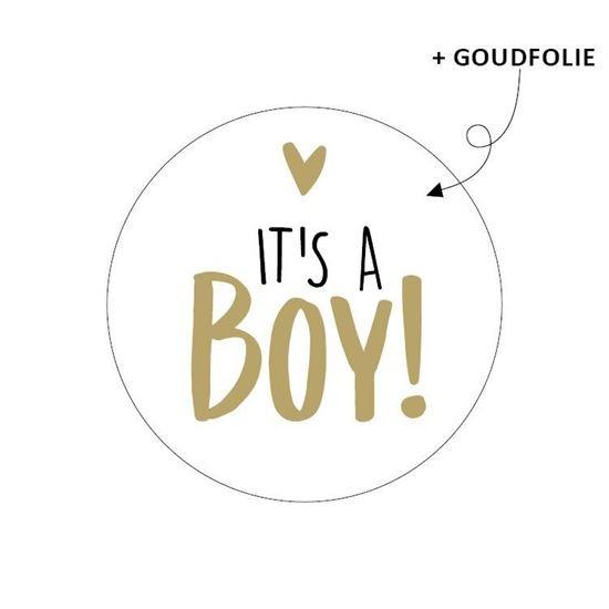 Sticker It's a boy goudfolie 10 stuks  (KP)