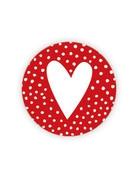 Sticker rood stipjes hartje 10 stuks (GX)