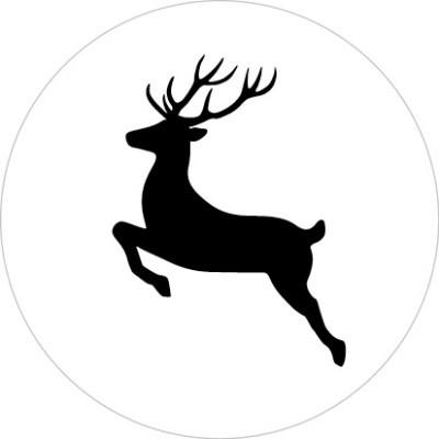 Sticker kerst rendier zwart/wit 10 stuks (EV)