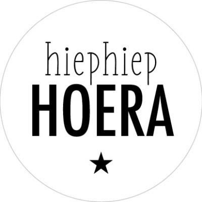 Sticker Hiep Hiep Hoera wit/zwart ster 10 stuks (EV)