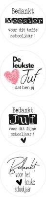 Sticker juf/meester wit mix 12 stuks (EPS)