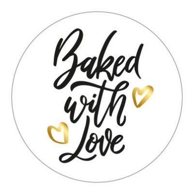 Sticker Baked with love 10 stuks (EV)