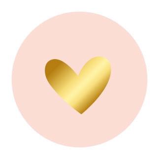 Sticker rond roze gouden hartje 10 stuks (EPS)