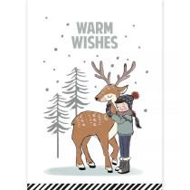 Kerstkaart Warm wishes rendier (CW)