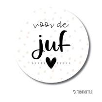 Sticker Voor de juf met hartje 5 stuks (MV)