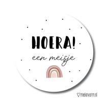 Sticker Hoera een meisje regenboog 10 stuks (MV)