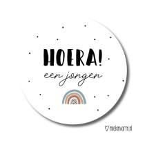 Sticker Hoera een jongen regenboog 10 stuks (MV)
