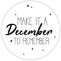 Sticker Make it a December to remember rond 10 stuks