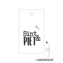 Kadolabel - Sint en Piet zwart/wit 5 stuks
