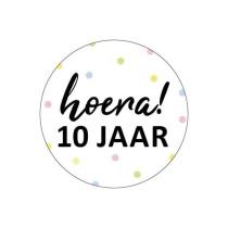 Traktatie-Sticker Hoera 10 jaar! 5 stuks (KP)