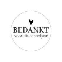 Sticker bedankt voor dit schooljaar wit/zwart 5 stuks (KP)