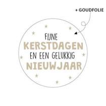 Kerst sticker Fijne kerstdagen en een gelukkig nieuwjaar 10 stuks (KP)
