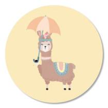 Sticker Boho Lama met parasol 10 stuks (TK)