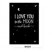 Kaart i love you to the moon zwart (LB)