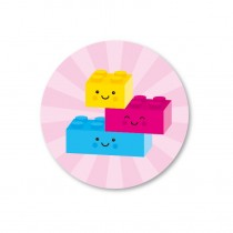 Stickerset 5 stickers legoblokje roze