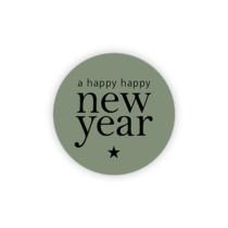 Sticker a happy happy new year groen 10 stuks