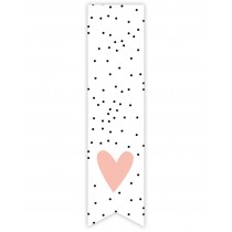 Labelsticker zwarte stipjes roze hart 10 stuks