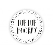 Sticker wit hip hip hooray 10 stuks