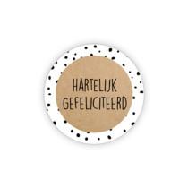 Sticker kraft/wit hartelijk gefeliciteerd 10 stuks (GX)