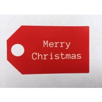 Sticker label Merry Christmas Rood 5 stuks