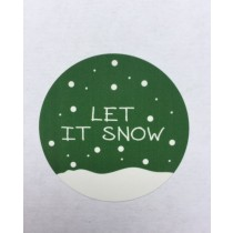 Sticker groen Let it snow 5 stuks