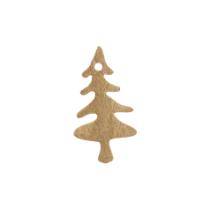 Houten kerstboompjes goud 5 stuks