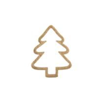 Houten Kerstboom goud open 5 stuks