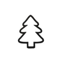 Houten Kerstboom zwart open 5 stuks