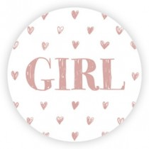 Sticker girl roze hartjes 10 stuks