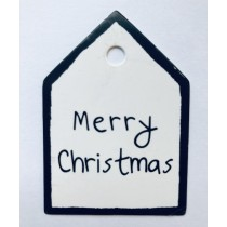 Label huisje merry christmas zwart wit