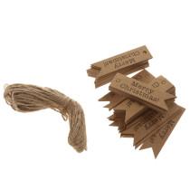 Kraft kerst label met touw