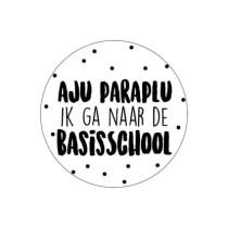 Traktatie-sticker Aju Paraplu ik ga naar de basisschool 5 stuks