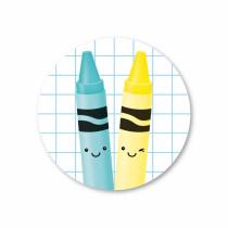 Stickerset 5 stickers Krijtjes blauw/geel SS