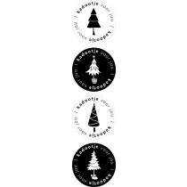 Kerst stickermix kerstboom zwart/wit 12 stuks (EPS)
