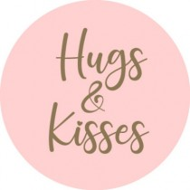 Sticker roze hugs & kisses 10 stuks