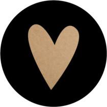 Sticker hart kraft zwart 10 stuks