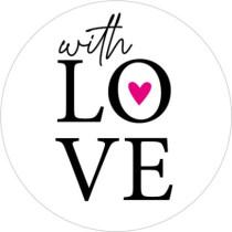 Sticker with love wit met roze hartje