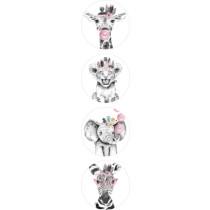 Stickermix - lieve diertjes roze 12 stuks (ESVA)