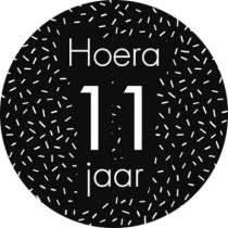 Sticker zwart/wit sprinkles Hoera 11 jaar ! 5 stuks