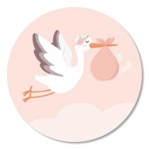 Sticker Baby meisje ooievaar 10 stuks (TK)