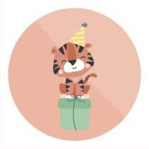 Sticker Tijger met feesthoedje 10 stuks (TK)