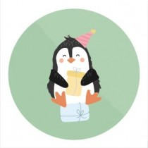 Sticker Pinguin met feesthoedje 10 stuks (TK)