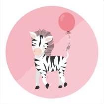 Sticker Zebra met ballon 10 stuks (TK)