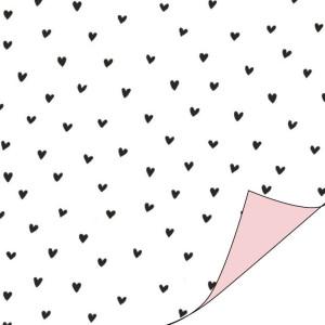 Kadopapier zwart wit hartjes roze