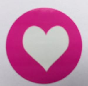 Sticker Hart Knalroze 10 stuks