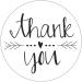 Sticker Thank you wit/zwart 10 stuks